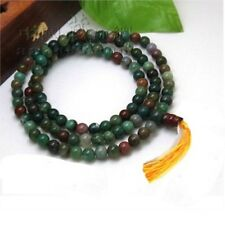 "Tibetan 108 6mm Indian Jade Prayer Beads Mala Necklace -26"" with Golden Tassel"