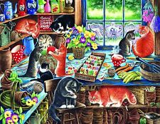Jigsaw Puzzle Hidey Hole Cats In a Garden Shed 1000 pieces NEW Made in the USA