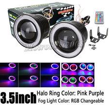"2x 3.5"" RGB Projector LED Fog Light w/ Pink Angel Eyes Halo Ring Driving SUV DRL"