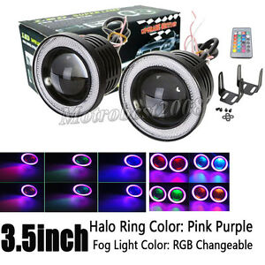 "2x 3.5"" RGB Projector LED Fog Light w/ Pink Angel Eyes Halo Ring Driving SUV DRL"
