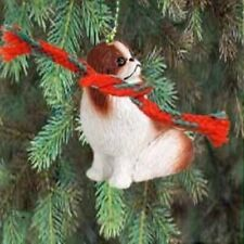 Small Resin Japanese Chin Red Dog Breed Miniature Christmas Ornament