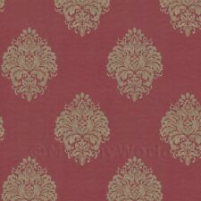 Dolls House Miniature Gold Floral Diamond On Burgandy Wallpaper