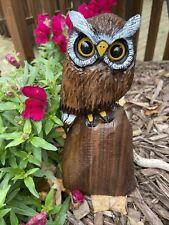 Mini HORNED OWL Chainsaw Carving Walnut Wood Owl Sculptures ORIGINAL Folk Art
