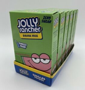 6 Boxes Jolly Rancher Watermelon Drink Mix Zero Sugar SINGLES TO GO Drink Packet
