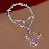 Damenhalskette SchmetterlingeSchmuck 45cm Halskette pl. mit  Sterlingsilber