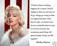"""Marilyn Monroe """"everything happens..."""" Famous Quote 11 x 14 Photo Picture Poster"""
