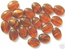 20 topaz / goldstone Czech glass oval beads 12x9mm