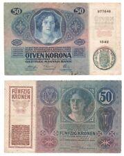ROMANIA 50 Kronen Banknote (1919) Treasury Provisional issue - Pick ref: R18.