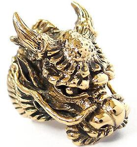 HUGE HEAVY EMPEROR DRAGON GOLD BRASS BRONZE RING NEW JAPANESE BIKER