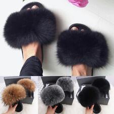 Women Fluffy Slippers Woman Faux Fox Fur Slides Beach Furry Sandals Mules Shoes