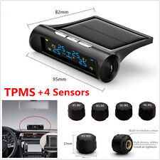 Car Solar TPMS Tire Pressure LCD Display Monitoring System Wireless + 4 Sensors