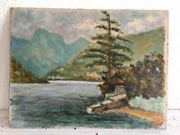 tableau ancien huile sur panneau THISI (XXe-s) lac montagne