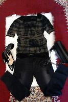 NEW ZADIG & VOLTAIRE Z&V WANDA Tie & Dye BLACK GREEN T-SHIRT TOP SILK BLEND S