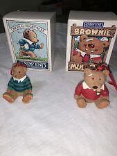 Vintage Pair Of 1996 Lands End Xmas Ornaments Brownie Muldoon & Rugby Bear C4