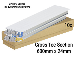 Pack of 10 White Cross Tee Section, 600mm x T-24, Suspended Ceiling Grid System