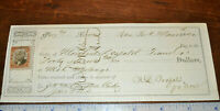 1872 Columbus & Hocking Valley Railroad Co Bank Check to PFW&C Ry Revenue Stamp!