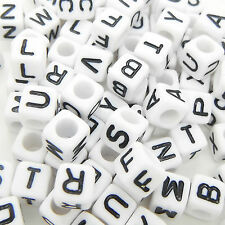 100 x 6mm White Black Letter Alphabet Loose Pony Cube Beads Mixed Single A-Z UK