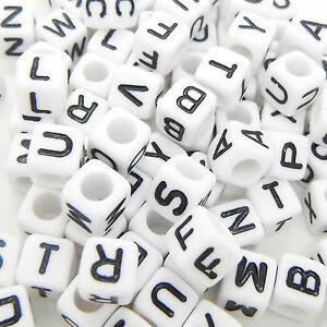 100 x 6mm White Black Letter Alphabet Loose Pony Cube Beads Mixed Single A-Z UK