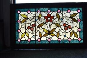 Antique Victorian Stained Glass &  Cut Jeweled Window Circa 1880's