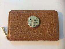 DKNY Donna Karan Leather Zip Around Moc Croc Camel Wallet Clutch