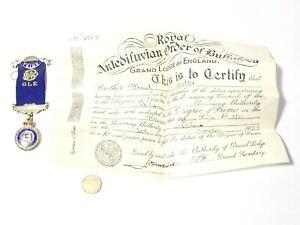 1937 Silver Enamel RAOB Prince George Lodge Hobbs Primo Medal + Cert #R77