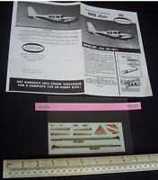 1960s/70s Vintage Aurora #282 Decals & Instructions for Piper Aztec (No Kit)