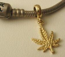 GENUINE SOLID 9K  9ct YELLOW GOLD CHARM BEAD with MARIJUANA PLANT DROP