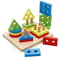 Wooden Educational Stacking Blocks Toys Geometry Shape Sorting Puzzles Board Q