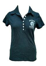 Jack Daniels Womens Black Short Sleeve Top Fitted Polo Shirt Portrait Sz Small