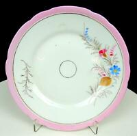 "OLD PARIS PORCELAIN FLORAL AND PINK BAND 7 1/2"" PLATE 1800'S"