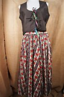 Hand Made German Costume Red Black Women's Skirt Vest Set Large