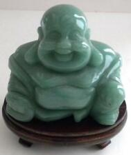 Happy Bouddha Riant Statue Figurine Vert Jade Solide Pierre & Bois Socle