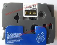 TZ-344 Gold on Black Label Tape 18mm 8m Compatible for Brother P-touch TZ-e344