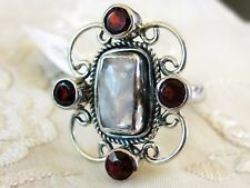 Rainbow Moonstone & Garnet Ring, 925 Sterling Silver, size 8 -- 6.2cts, 5.3g