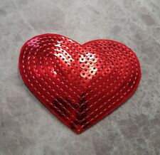 HEART PATCH SEQUIN RED IRON ON SEW ON BADGE