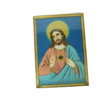 Vintage Watercolor Jesus Sacred Heart Painting on Fabric Gold Frame