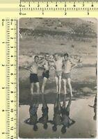 Shirtless Men Guys in Trunks Hug on Beach Males Group vintage photo old original