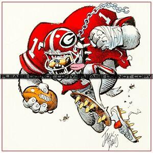 "Jack Davis Georgia Bulldogs College Football Illustration REPRINT 12""x12"""