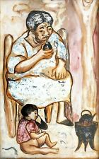 Enrique Policastro Grandmother & Child/Argentinean Latin American Social Realism