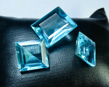 CS-0035 Blue Topaz Glass Stone Gemstone Square Faceted 3Pcs Cabochon Set