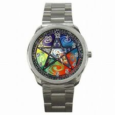 Wicca Pentagram Emblem Witches Spell Wiccan Stainless Steel Watch
