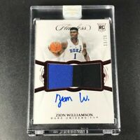 ZION WILLIAMSON 2019 PANINI FLAWLESS RUBY PATCH AUTOGRAPH AUTO ROOKIE RC #'D /20