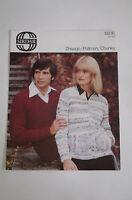 """Vintage Sirdar Chunky Knitting Pattern Man's Ladies Sweater & Jacket 32-42"""" 5936"""