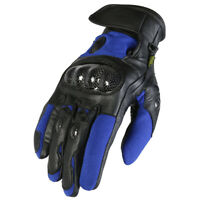 NEW Black & Blue Short Cuff Leather & Textile Motorbike / Motorcycle Gloves