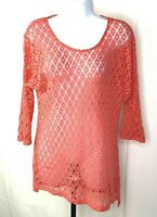 Chico's Women's 3/4 Sleeve Shirt Size 1 Pink