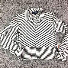 Jones New York Zip Blouse long sleeve black white stripe Peplum Size PP $ 88