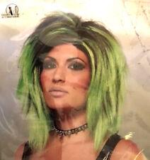 Green & Black Wig 'Rock Longer' Shoulder Length Elf Leprechaun Witch Hair New