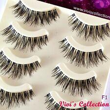 5 Pairs F1 Finest Long Glamour Wispies False Eyelashes WSP Wispy Fake Eye Lashes