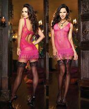 Dreamgirl lingerie 8614 fuchsia XL extra large fringe garter chemise teddy NWT