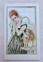 CPA Ancienne Carte Postale signée illustrateur MAUZAN édition 1917 Femme et Ange